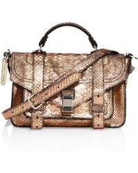 Proenza Schouler | Ps1 Tiny Metallic Python-embossed Leather Satchel | Lyst