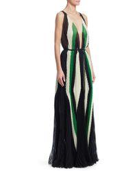 Tre by Natalie Ratabesi - Art Deco Plunging Pleat Gown - Lyst