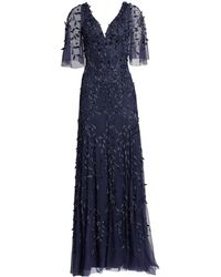 THEIA - Flutter Sleeve Beaded Gown - Lyst