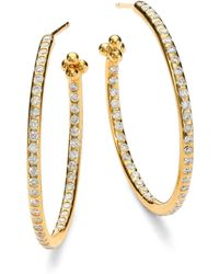 Temple St. Clair | Classic Diamond & 18k Yellow Gold Hoop Earrings/1.2 | Lyst