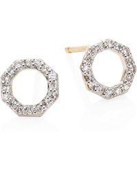 Phillips House - Small Open Hero Diamond & 14k Yellow Gold Stud Earrings - Lyst