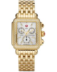 Michele Watches - Deco 18 Diamond, Mother-of-pearl & Goldtone Stainless Steel Bracelet Watch - Lyst