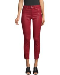 Joe's Jeans - Charlie High-rise Distressed Coated Skinny Ankle Jeans - Lyst