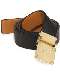 MCM - Goldtone Brass Buckle Leather Belt - Lyst