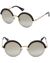Web - 51mm Black & Mirrored Lens Round Sunglasses - Lyst
