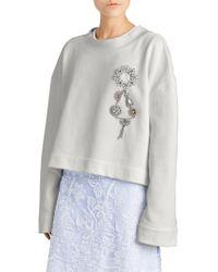 Burberry - Melange Brooch Sweatshirt - Lyst