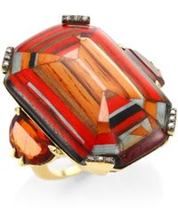 Silvia Furmanovich - 18k Yellow Gold, Brown Diamonds And Rio Grandese Citrine Marquetry Ring - Lyst