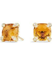 David Yurman - Châtelaine Gemstone & 18k Gold Stud Earrings - Lyst