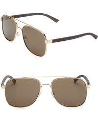 364e7ae7fa9ac Gucci Men s 55mm Square Aviator Sunglasses - Gold in Metallic for ...