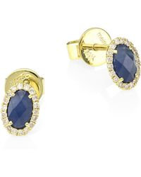 Meira T - 14k Yellow Gold, Blue Sapphire & Diamond Stud Earrings - Lyst