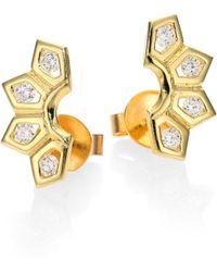 Ron Hami - Rain Diamond & 18k Yellow Gold Small Fan Earrings - Lyst