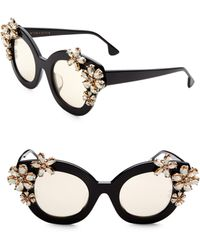 Alice + Olivia - Olivia Black Mirrored Crystal Sunglasses - Lyst