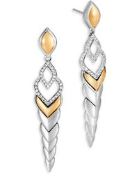 John Hardy - Legends Naga Diamond Pave & 18k Gold Long Drop Earrings - Lyst