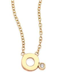 Zoe Chicco - Diamond & 14k Yellow Gold Initial Pendant Necklace - Lyst