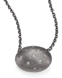 Rene Escobar | Diamond & Sterling Silver Oval Pendant Necklace | Lyst