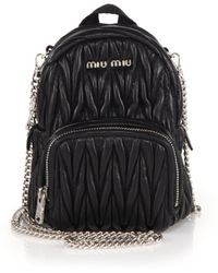 Miu Miu - Mini Matelasse Leather Crossbody Backpack - Lyst