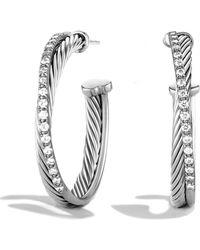 David Yurman - Diamond Sterling Silver Hoop Earrings125 - Lyst