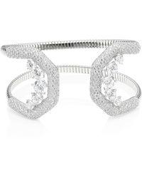 Adriana Orsini - Women's Rhodium-plated & Cubic Zirconia Pavé Wide Cuff Bracelet - Silver - Lyst
