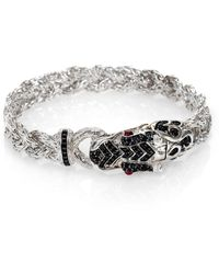 John Hardy - Naga Black Sapphire & Sterling Silver Dragon Braided Bracelet - Lyst