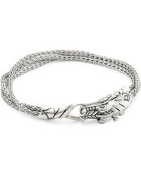 John Hardy - Legends Naga Silver And Blue Sapphire Multi Chain Bracelet - Lyst