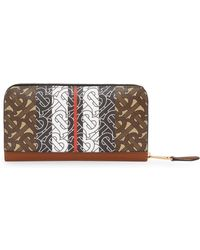 Burberry - Monogram Stripe E-canvas And Leather Ziparound Wallet - Lyst