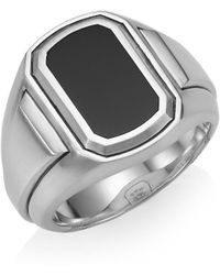 David Yurman - Deco Sterling Silver & Black Onyx Signet Ring - Lyst