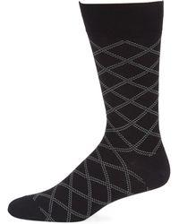 Saks Fifth Avenue - Dashed Plaid Crew Socks - Lyst