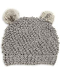 Surell - Kid's Rabbit Fur Pom-pom Hat - Lyst