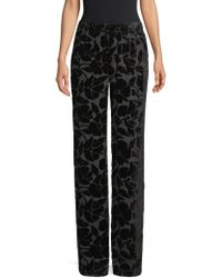 St. John - Wide Leg Burnout Velvet Trousers - Lyst