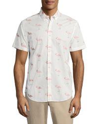 Bonobos - Slim Fit Flamingo Print Short Sleeve Sport Shirt - Lyst