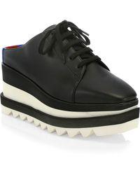 Stella McCartney - Women's Elyse Leather Platform Wedge Trainer Mules - Black - Size 34.5 (4.5) - Lyst