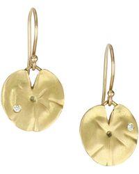 Annette Ferdinandsen - Diamond & 18k Yellow Gold Lily Pad Earrings - Lyst