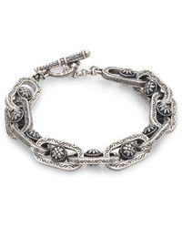 Konstantino Penelope Sterling Silver Etched Link Bracelet Lyst