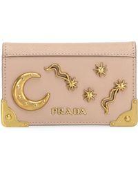 Prada - Cahier Leather Card Case - Lyst