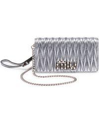 Miu Miu - Matelasse Metallic Leather Wallet-on-chain - Lyst