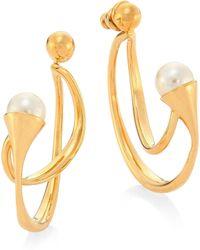 Chloé - Darcey Swarovski Pearl Hoop Earrings - Lyst