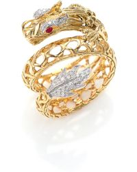 John Hardy - Legends Naga 18k Gold, African Ruby & Pavé Diamond Dragon Coil Ring - Lyst