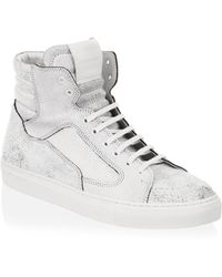 Public School - Cracked White Leather Artel High Tops - Lyst