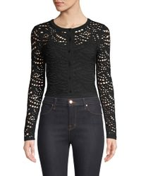 MILLY - Lace Pointelle Cardigan - Lyst