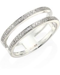 Monica Vinader - Stellar Skinny Diamond & Sterling Silver Double Band Ring - Lyst