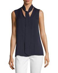 St. John - Silk Double Georgette Tie-neck Blouse - Lyst