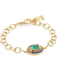 Temple St. Clair - Evil Eye Diamond, Emerald, Blue Sapphire & 18k Yellow Gold Bracelet - Lyst