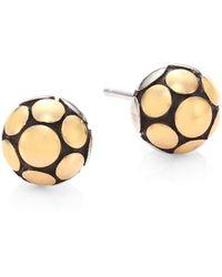 John Hardy - Dot Medium 18k Yellow Gold & Sterling Silver Ball Stud Earrings - Lyst