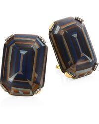 Silvia Furmanovich - Marquetry Light Brown Diamonds & 18k Yellow Gold Stud Earrings - Lyst