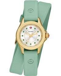Michele Watches - Cape Mini Green Topaz, Goldtone Stainless Steel & Silicone Double-wrap Strap Watch/green - Lyst