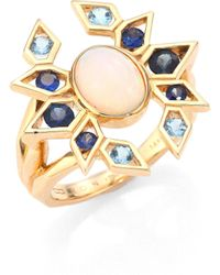 Ron Hami - Plumage Opal, Blue Sapphire, Aquamarine & 18k Yellow Gold Cocktail Ring - Lyst