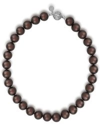 Majorica - 14mm Tahitian Pearl & Crystal Strand Necklace - Lyst