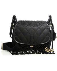 Prada - Corsaire Leather And Crepe Shoulder Bag - Lyst