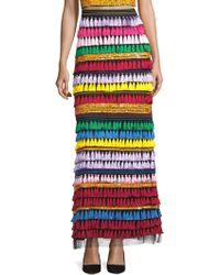 Alice + Olivia - Merrill Embellished Rainbow Maxi Skirt - Lyst