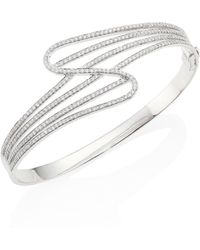 Hueb - Wave Diamond & 18k White Gold Bangle Bracelet - Lyst